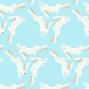 1950s Cream Colored Hares Running in Triangles on Blue