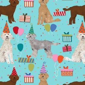 golden doodle birthday dog fabric - birthday party, birthday dog, birthday, golden doodle fabric, doodle dog fabric -  blue