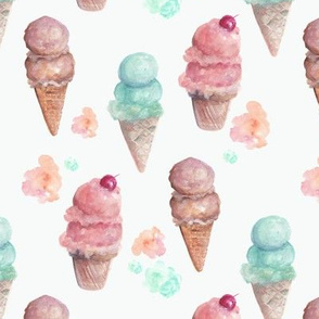 Watercolour Ice Cream Cones