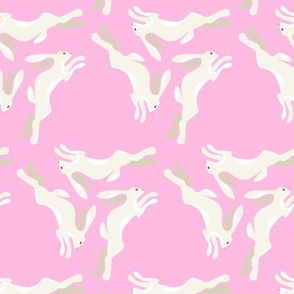 1950s Cream Colored Hares Running in Triangles on Pink