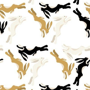 1950s Three Hares Running in Triangles on White