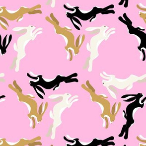1950s Three Hares Running in Triangles on Pink