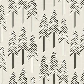 Forest - Pine Trees - Cream - Black