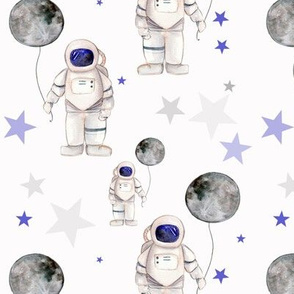 Astronaut  With Moon and Stars
