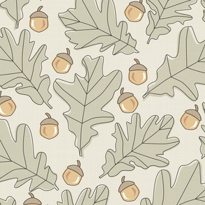 Forest - Leaves _ Acorns - Black - Cream