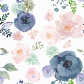 navy and peach floral fabric