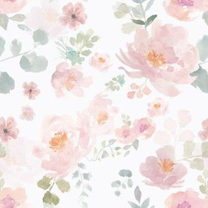 Soft peach and pink watercolour flowers