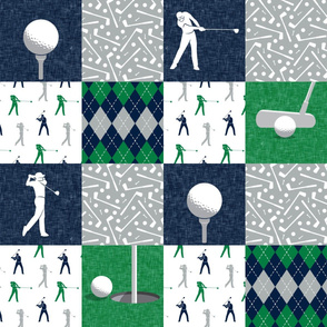 Golf Wholecloth -  green & navy  - LAD19