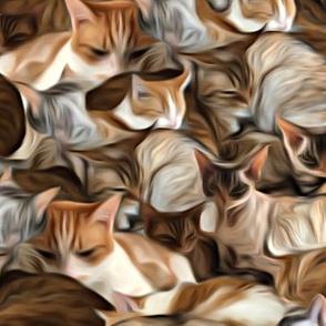 Painterly Cat Pile