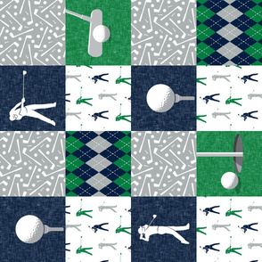 Golf Wholecloth -  green & navy  (90) - LAD19