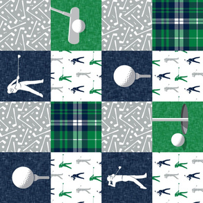 Golf Wholecloth -  green & navy plaid (90) - LAD19