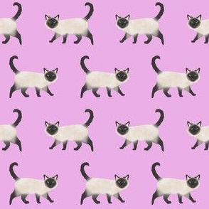siamese cat fabric - siamese cat, cat fabric, cat lady fabric, cats fabric, siamese cats - purple