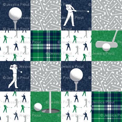 Golf Wholecloth -  green & navy plaid  - LAD19