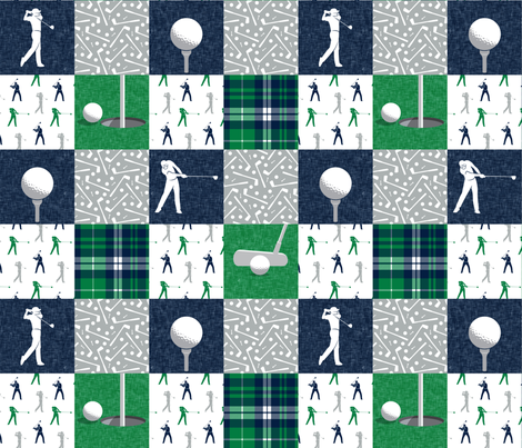 Golf Wholecloth -  green & navy plaid  - LAD19 fabric by littlearrowdesign on Spoonflower - custom fabric