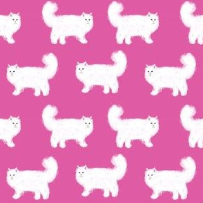 persian cat fabric - white cat fabric, fluffy white cat fabric, persian cats - cute cat, cats, - magenta