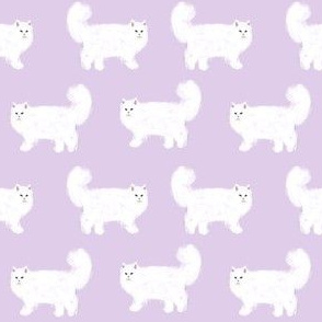 persian cat fabric - white cat fabric, fluffy white cat fabric, persian cats - cute cat, cats, -  lilac