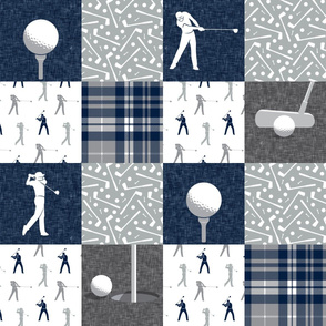 Golf Wholecloth - grey & navy plaid - LAD19
