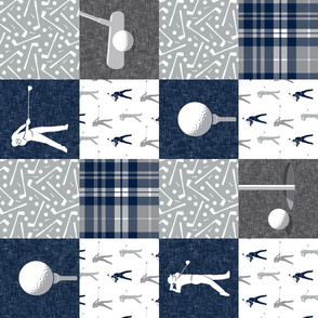 Golf Wholecloth - grey & navy plaid (90) - LAD19