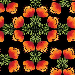 Flowers Orange Hearts Mandala on Black