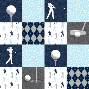Golf Wholecloth - baby blue & navy - LAD19