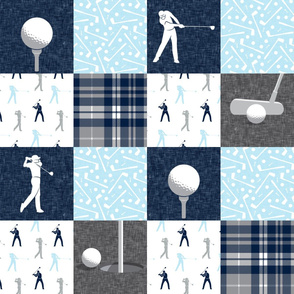 Golf Wholecloth - baby blue & navy plaid- LAD19