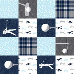 Golf Wholecloth - baby blue & navy plaid (90) - LAD19