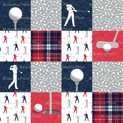 Golf Wholecloth -  red & navy plaid - LAD19