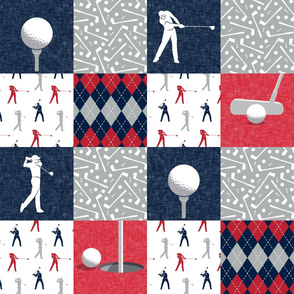 Golf Wholecloth -  red & navy  - LAD19