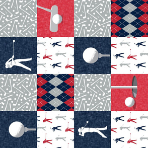 Golf Wholecloth -  red & navy (90) - LAD19