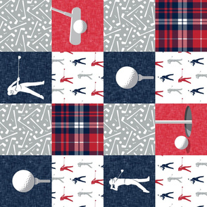 Golf Wholecloth -  red & navy plaid (90) - LAD19
