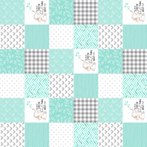 3 inch Elephant//You are the best thing about me// Teal - Wholecloth Cheater Quilt - Rotated