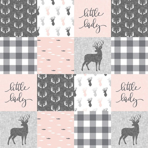 "(4.5"" scale) little lady woodland wholecloth patchwork - light pink &  grey C19BS"