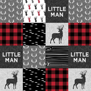 "(4.5"" scale) little man - red and black (buck) quilt woodland C19BS"