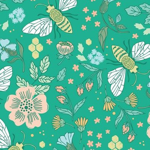 Large, Honey Bee Garden on Teal