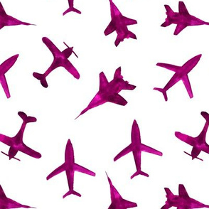 Watercolor airplanes in berry pink
