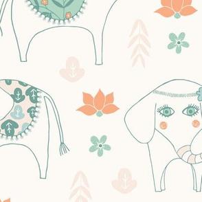 Large, Three Little Elephants