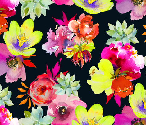 Summer Dreams Floral // Black fabric by theartwerks on Spoonflower - custom fabric