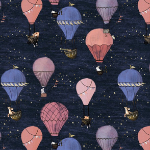 Forest Animal Hot Air Balloon Night Adventure in pink and purple