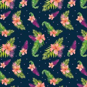 Tropical Flowers Dark Ground