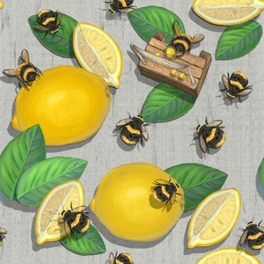 Widdle Bitty Bees//Lemonade Stand//Grey Yellow//KimMarshall