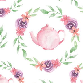 Time For Tea Pink Teapot Floral