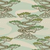 Japanese Bonsai Trees River Green Earth Pastels