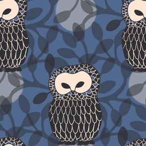 Woodlands Owls Moonlight Forest Blue Black