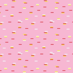 Minimal rain drops confetti nineties revival retro geometric print pink orange yellow summer