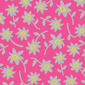Ditsy Floral Retro Vintage Pink Yellow Gray