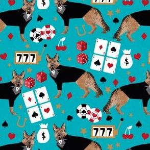 german shepherd casino fabric - dog fabric, german shepherd fabric, card game fabric, casino betting gambling fabric - teal