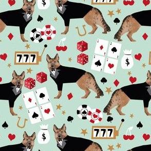german shepherd casino fabric - dog fabric, german shepherd fabric, card game fabric, casino betting gambling fabric -  mint