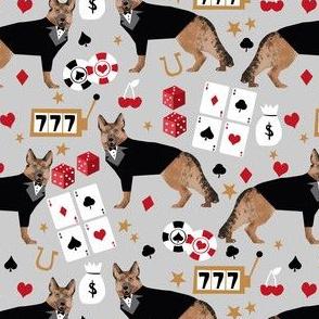 german shepherd casino fabric - dog fabric, german shepherd fabric, card game fabric, casino betting gambling fabric -  grey