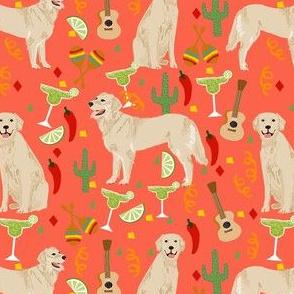 golden retriever fabric - fiesta fabric, margarita fabric, cinco de mayo fabric, celebration fabric, dog fabric - orange