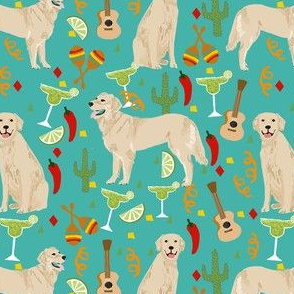 golden retriever fabric - fiesta fabric, margarita fabric, cinco de mayo fabric, celebration fabric, dog fabric -  tuquoise